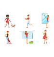 women cleaning home and doing housework set vector image vector image