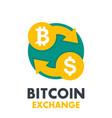 bitcoin to dollar exchange icon on white vector image