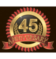 45 years anniversary golden label with ribbons vector image vector image