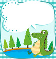 Border design with crocodile and pond vector image vector image