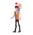 boy riding piggyback on his dad s shoulders vector image vector image