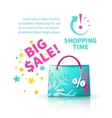 Bright blue shopping bag vector image