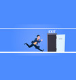 businessman run to open exit door man running from vector image vector image