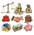 cartoon business finance money set scales stack vector image vector image