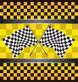 checkered flag on yellow background vector image vector image