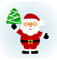 christmas card santa santa with christmas tree vector image
