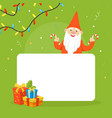 christmas gnome holding blank banner winter vector image