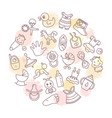 circular background of children themes with toys vector image