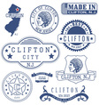 Clifton city New Jersey stamps and seals vector image vector image