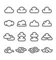 cloud line icon set vector image vector image