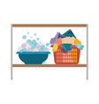 colorful silhouette of rack with bowl with soap vector image vector image