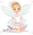 Cute fairy girl in white dress and tiara sit on vector image vector image