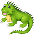 cute iguana cartoon posing with laughing vector image vector image