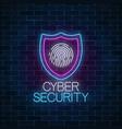 cyber security glowing neon sign on dark brick vector image vector image