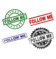 damaged textured follow me seal stamps vector image