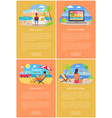 distant work and freelance bright banners set vector image vector image