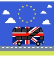 Double-decker bus painted UK flag brexit vector image