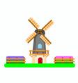 dutch windmill between tulip fields flat vector image vector image