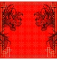 frame red dragon gold-colored sticker 3 vector image vector image