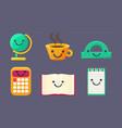 funny cute school stationery characters set earth vector image vector image