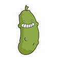 funny smiling dill pickle cartoon vector image vector image
