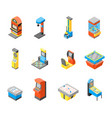 game machine 3d icons set isometric view vector image vector image
