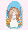 girl with dress to first communion celebration vector image