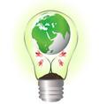 globe over a flower inside bulb ecology vector image
