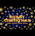 gold merry christmas and happy new year blue vector image
