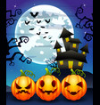 halloween background with cartoon pumpkins charact vector image vector image