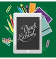 Hand drawn back to school lettering with set of vector image
