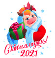 happy new year 2021 russian translation text vector image vector image