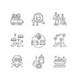 holiday tourism pixel perfect linear icons set vector image