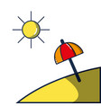 island with sun weather and umbrella open vector image vector image