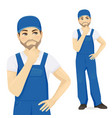 man in overalls thinking vector image vector image