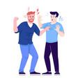 men fight flat aggressive male behavior friends vector image