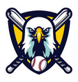 modern professional eagle baseball team logo badge vector image vector image