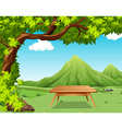 Nature scene with picnic table in the park vector image vector image
