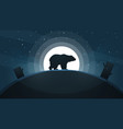 night landscape bear moon vector image vector image