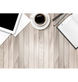 Office workspace - coffee tablet paper and some vector image vector image