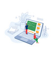 online distance education learning exams testing vector image