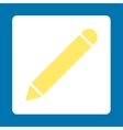Pencil flat yellow and white colors rounded button vector image