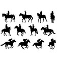 people riding horses silhouettes vector image