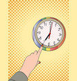 pop art hand shows on a wall clock half past vector image vector image