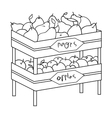 Raw food lying on rack shelves icon in outline vector image vector image