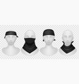 realistic black bandana mannequins mockup with vector image
