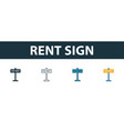 rent sign icon set four elements in diferent vector image vector image