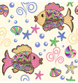 Seamless pattern with cartoon sea creatures vector image vector image