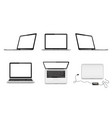 set laptops with blank screen in vector image