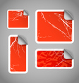Shopping aged scratched discount red stickers vector image vector image